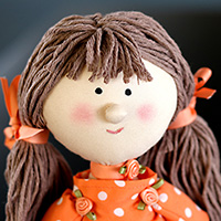 Handmade Fabric Doll with Polka Dot Dress